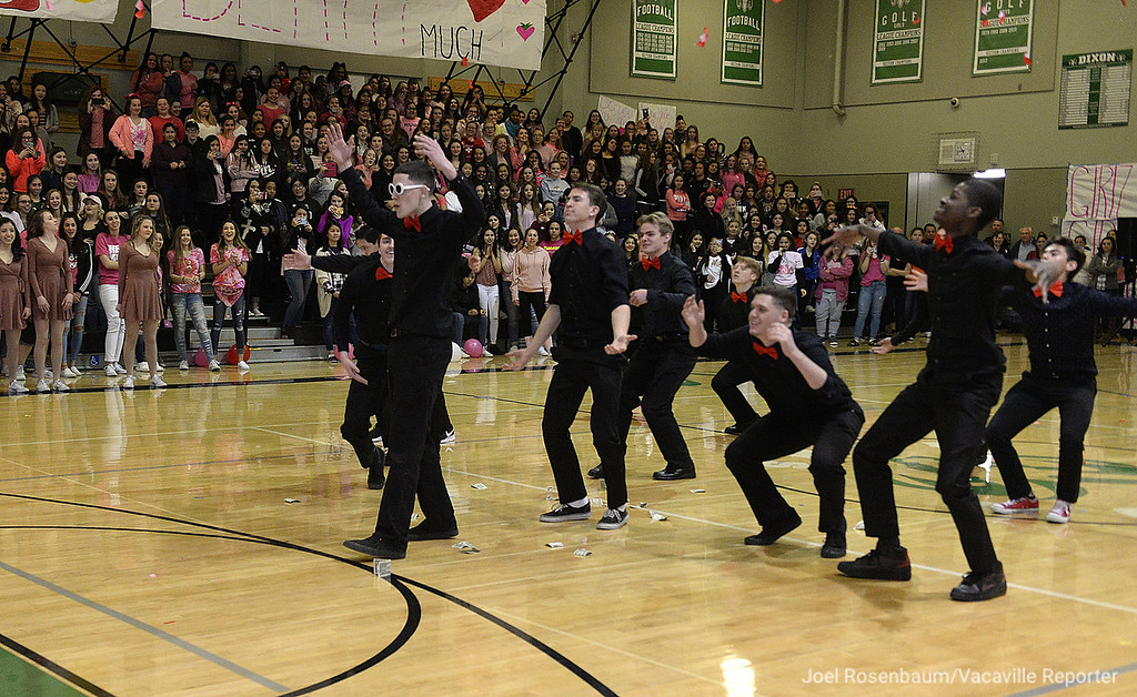 . Dixon High School student perform a dance for their classmates  during the school\'s annual Sweethearts\' Rally, Friday at the gym.