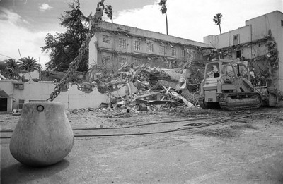 A wrecking ball sits in the parking lot of the old Solano County Jail during the ongoing demolition of the building. This was the very first image I made and had published when I started at The Reporter on April 25, 1991