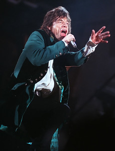Legendary Rolling Stones frontman, Mick Jagger struts across the stage at the Oakland Coliseum during the Voodoo Lounge Tour in October of 1994