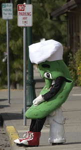 "slug:..Tired Pickle, -3.4.06- Brian Christmon, 16 of Vacaville sits on a fire hyrdrant on the corner of Dobbins and Kendal Streets and as he takes a breather  while promoting the grand opening of a new sandwich shop ""Mr. Pickles"" on East Monte Vista Ave. Joel Rosenbaum photo"