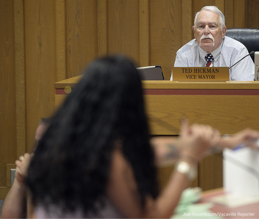 . Dixon Vice Mayor, Ted Hickman listens to one of the Dixon residents that spoke out against him and his newspaper column during  public comment of Tuesday\'s city council meeting.