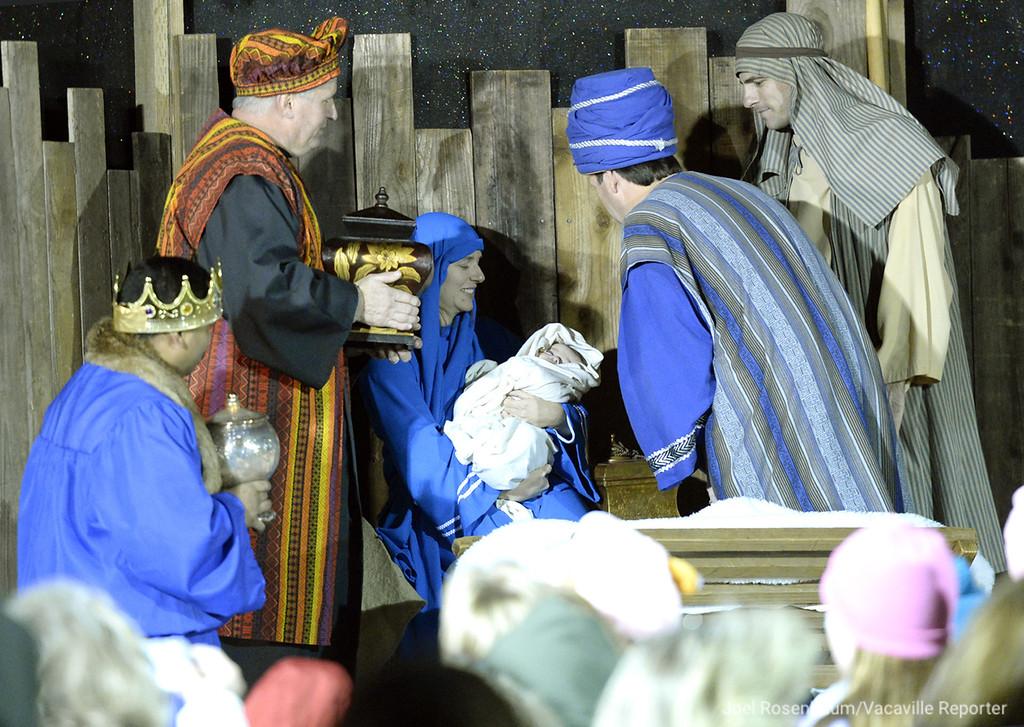 . Members of the Crossroads Christian Church stage a Live Nativity Scene in Town Square during the 31st annual Merriment on Main celebration on Tuesday, December 3, 2013. Joel Rosenbaum/JRosenbaum@TheReporter.com