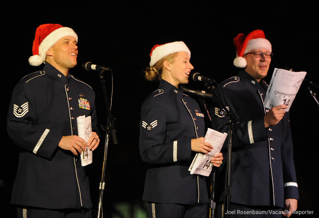 . Mobility from Travis Air Force Base entertains the crowd along Main Street with a selection of Christmas songs during the 30th annual Merriment on Main Celebration on Tuesday, November 27, 2012. Joel Rosenbaum/jrosenbaum@thereporter.com