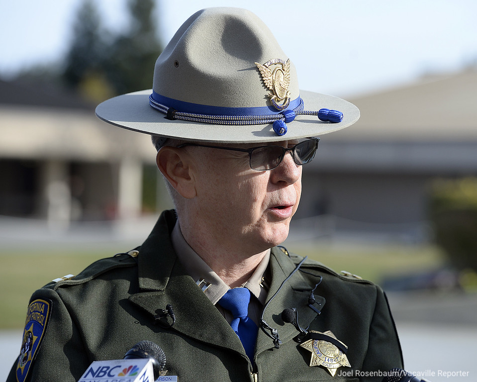 . California Highway Patrol Captain Tim Pearson, commander of the Hayward area office speaks to members of the media gathered at the California Highway Patrol Academy about Officer Andrew Camilleri Sr. who was killed on Christmas Eve. Camilleri was assigned to the Hayward area office.