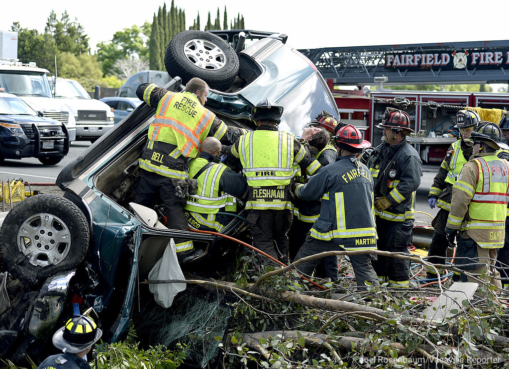 . Firefighters from the Fairfield Fire Department free Joanna Campbell, 57 of Auburn from a Chevy Tahoe she was driving when she was involved in a four vehicle accident Tuesday on westbound Interstate 80 in Fairfield. Campbell was trapped inside her vehicle as crews worked for two hours to extricate her. She was transported to NorthBay Medical Center to be treated for minor injuries.