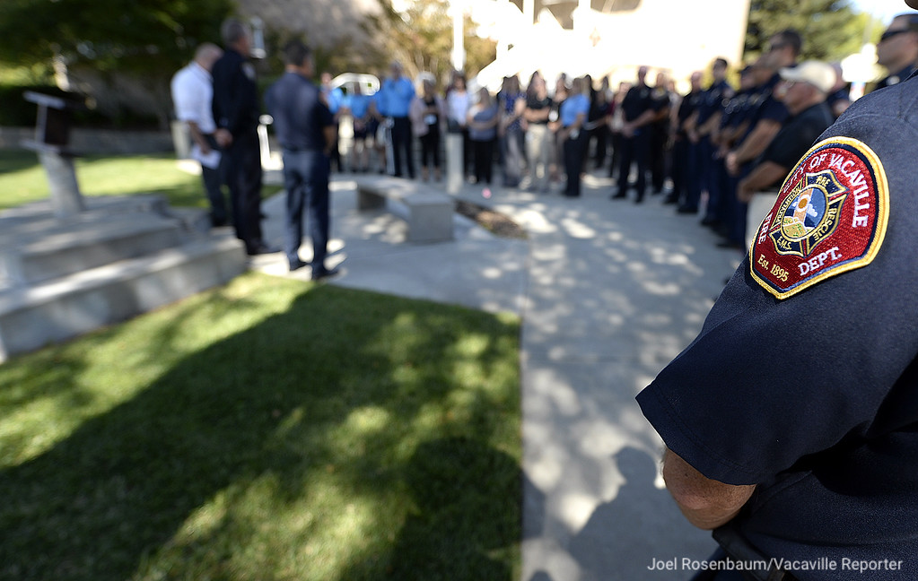 . In Vacaville a small gathering was held at the city�s 9/11 Memorial right outside the steps of the police department. Police Chief John Carli and Fire Chief Kris Concepcion, along with members of the police and fire departments and city staff gathered for a moment of silence and to reflect on those who gave their lives.