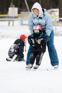 Erica Miller @togianphotog- The Saratogian,   At the Gavin Park ice skating rink, on Monday Jan. 20th, 2014, Nicole Griffiths helps her four year old son Gavin skate on their day off from school, Martin Luther King's Day's remembrance.