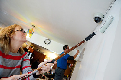 Erica Miller @togianphotog- The Saratogian,   Chris MacCormick, of Saratoga Springs, helped paint the walls at Shelters of Saratoga. Monday Jan. 20th, 2014, in celebration of Martin Luther Kings Day, the community gathered to help local non-for-profits in the city.