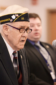 "Erica Miller @togianphotog - The Saratogian:   At the Saratoga County Board of Supervisors Veteran Chris Sgamboti sung Amazing Grace during the honoring ceremony for their father Joseph Kalinkewicz at the Saratoga County ""Honoring Our Deceased Veterans"" Ceremony held monthly."
