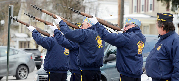 "Erica Miller @togianphotog - The Saratogian:   At the Saratoga County Board of Supervisors Ballston Spa Honor Guard fire their arms with blank ammunition during the honoring ceremony for their father Joseph Kalinkewicz at the Saratoga County ""Honoring Our Deceased Veterans"" Ceremony held monthly."