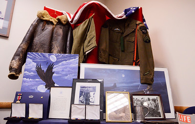 "Erica Miller @togianphotog - The Saratogian:   At the Saratoga County Board of Supervisors a display is laid out for viewing during the honoring ceremony for their father Joseph Kalinkewicz at the Saratoga County ""Honoring Our Deceased Veterans"" Ceremony held monthly."