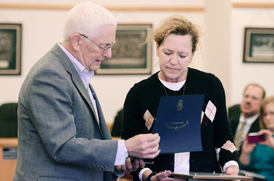 "Erica Miller @togianphotog - The Saratogian:   Saratoga County Board of Supervisors Chairman Paul Sausville gave Melody Brown, daughter, a proclamation during the honoring ceremony for their father Joseph Kalinkewicz at the Saratoga County ""Honoring Our Deceased Veterans"" Ceremony held monthly."