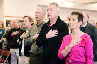 "Erica Miller @togianphotog - The Saratogian:   Members of the Kalinkewicz family stood reciting the pledge of allegiance during the honoring ceremony for their father Joseph Kalinkewicz at the Saratoga County ""Honoring Our Deceased Veterans"" Ceremony held monthly."