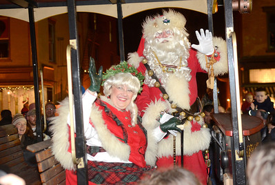 Ed Burke - The Saratogian 12/5/13 Santa and Mrs. Claus arrive for the Christmas Tree lighting during Thursday's Victorian Streetwalk in downtown Saratoga Springs.