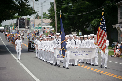 Eric Jenks - The Saratogian Members of the Naval Nuclear Power Training Unit March during the Schuylerville Turning Point Parade Sunday, August 3, 2014.