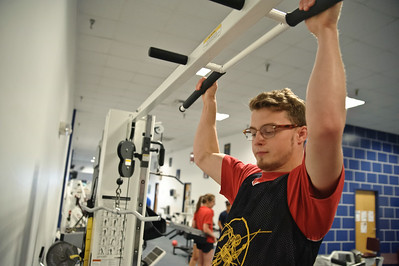 Eric Jenks - The Saratogian Jay Oakes during an off season training session at Torres XTF Health and Fitness in Ballston Lake Wednesday, August 6th, 2014.