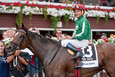 Eric Jenks - The Saratogian: Cornelio Velasquez and Cat's Claw in the winner's circle after taking the victory in the eleventh running of the Fasig-Tipton Waya Sunday, August 3, 2014 at the Saratoga Race Course.