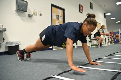 """Eric Jenks - The Saratogian Yanique """"Yaya"""" VanNess during an off season training session at Torres XTF Health and Fitness in Ballston Lake Wednesday, August 6th, 2014."""