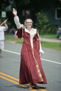 Eric Jenks - The Saratogian Nicole Stewart of the Long Island Sunrisers during the Schuylerville Turning Point Parade Sunday, August 3, 2014.