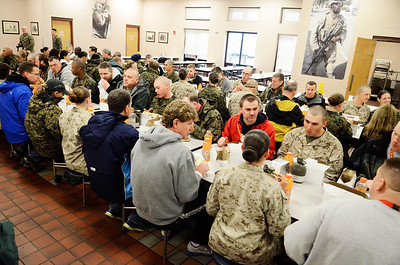 Erica Miller @togianphotog - The Saratogian:     The long day of flying traveling from Saratoga Springs NY to Parris Island, SC, came to and end as we arrived at the Marines Corps Recruit Depot on Tuesday, February 11th, 2014.  Our first full day at Parris Island occurred Wednesday. At the chow, educators were able to enjoy a boxed lunch with some fellow recruits. We, the Recruit Station based from Albany and a group from Pittsburg, traveled on two separate busses to enjoy a nice buffet meal at the station.