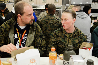 Erica Miller @togianphotog - The Saratogian:     The long day of flying traveling from Saratoga Springs NY to Parris Island, SC, came to and end as we arrived at the Marines Corps Recruit Depot on Tuesday, February 11th, 2014.  Our first full day at Parris Island occurred Wednesday. At the chow, educators were able to enjoy a boxed lunch with some fellow recruits as recruit Kaley Cashner from Canton Ohio chatted with Phil Grasha a chemistry teacher in Freeport. We, the Recruit Station based from Albany and a group from Pittsburg, traveled on two separate busses to enjoy a nice buffet meal at the station.