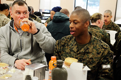 Erica Miller @togianphotog - The Saratogian:     The long day of flying traveling from Saratoga Springs NY to Parris Island, SC, came to and end as we arrived at the Marines Corps Recruit Depot on Tuesday, February 11th, 2014.  Our first full day at Parris Island occurred Wednesday. At the chow, educators were able to enjoy a boxed lunch with some fellow recruits as Hans Sebald, a dean at Middletown, chatted with recruit Shakiam Luck rom Poughkeepsie. We, the Recruit Station based from Albany and a group from Pittsburg, traveled on two separate busses to enjoy a nice buffet meal at the station.