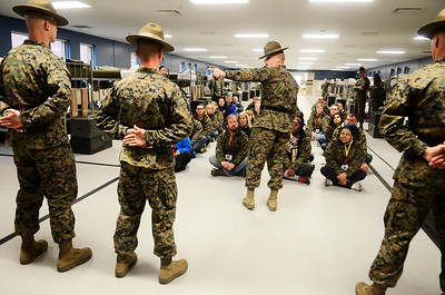 Erica Miller @togianphotog - The Saratogian:     The long day of flying traveling from Saratoga Springs NY to Parris Island, SC, came to and end as we arrived at the Marines Corps Recruit Depot on Tuesday, February 11th, 2014.  Our first full day at Parris Island occurred Wednesday as we were introduced by senior drill instructor Staff Sgt. Thomas Mattingly in Platoon 3. We, the Recruit Station based from Albany and a group from Pittsburg, traveled on two separate busses to enjoy a nice buffet meal at the station.