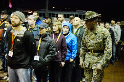 Erica Miller @togianphotog - The Saratogian:     The long day of flying traveling from Saratoga Springs NY to Parris Island, SC, came to and end as we arrived at the Marines Corps Recruit Depot on Tuesday, February 11th, 2014.  Our first full day at Parris Island occurred Wednesday at 6:30 a.m. as Staff Sgt. Christopher Lewis made the Educator Worshop exit the bus arriving to theYellow Footprints. We, the Recruit Station based from Albany and a group from Pittsburg, traveled on two separate busses to enjoy a nice buffet meal at the station.