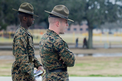 Erica Miller @togianphotog - The Saratogian:     One Parris Island recruits gathered at Mess Hall for lunch Chow where they only have moments to eat as much and want as they can, making through the line once, on Thursday  February 13th, 2014.