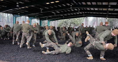 Erica Miller @togianphotog - The Saratogian:     One Parris Island at the Martial Arts training, recruits work on their tactical moves during the morning hours in South Carolina with cold temperatures on Thursday morning, Feb. 13th, 2014.