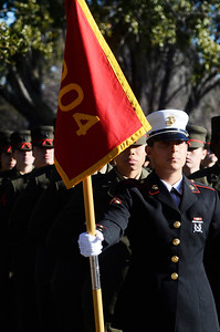 Erica Miller @togianphotog - The Saratogian:     In Parris Island at the Recruit Training Regiment Marine Corps Recruit Depot, as recruits wait in formation for the parade before they march on in front of their family and friends for graduation day on Friday  February 14th, 2014. Saratoga recruit from Mayfield, NY, Justine Woodend, 20 years old, stands in line.
