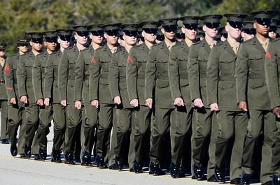 Erica Miller @togianphotog - The Saratogian:     In Parris Island at the Recruit Training Regiment Marine Corps Recruit Depot, as recruits march to be saluted on graduation day on Friday  February 14th, 2014.