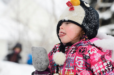 Erica Miller @togianphotog - The Saratogian:  After a evening of snow fall the students at the Waldorf School on Lake Ave enjoyed playing in the snow. Juliet Beekman took a little taste of the snow bundled up with snow gear.