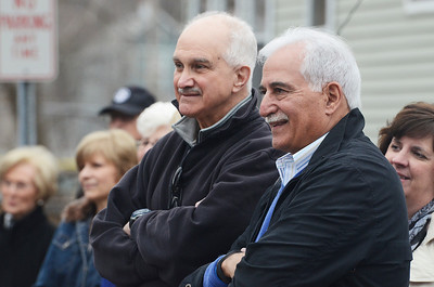 Erica Miller @togianphotog - The Saratogian:  On Friday April 4th, 2014, the city of Saratoga Springs dedicated the late Ray Waldron with a street sign replacing Pleasant Street to Coach Waldron Way. Former Saratoga Spring's HS coaches Rich Johns, right, and Damian Fantauzzi were a few in the crowd.