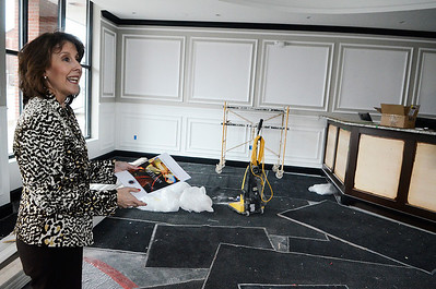 Erica Miller @togianphotog - The Saratogian:  The General Manager Susanne Simpson of the Pavilion Grand Hotel gave The Saratogian a grand tour of their new hotel in Saratoga Springs on Lake Ave. The hotel is hoped to open the first week in May. Shown in the lobby where there will be a colorful chandelier hanging in the entrance.