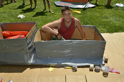 J.S.Carras/The Saratogian  during Hudson Crossing Park's 10th annual Cardboard Boat Race Saturday, August 9, 2014 at Fort Hardy Park Beach in Schuylerville, N.Y..