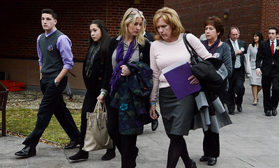 Erica Miller @togianphotog - The Saratogian.    Friends and family members, including Matt Hardy and mother, leave court after the Dennis Drue hearing at Saratoga County Court. Drue was sentenced to 5-15 year in state prison after killing two Shenendehowa students and seriously injuring two others a year from Dec 1. 12/5/13   SAR-l-DrueSentence10