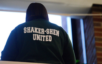 Erica Miller @togianphotog - The Saratogian.    Friends and families wear SHEN pride shirts at the Dennis Drue hearing at Saratoga County Court. Drue was sentenced to 5-15 year in state prison after killing two Shenendehowa students and seriously injuring two others a year from Dec 1. 12/5/13   SAR-l-DrueSentence7