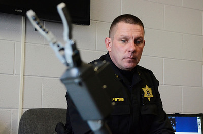 Erica Miller @togianphotog - The Saratogian:   At the Saratoga County Sheriff's Department in Ballston Spa, Deputy Dave Petrie demonstrated how the iRobot works. The iRobot is used for multiple details the Sheriff's go on.