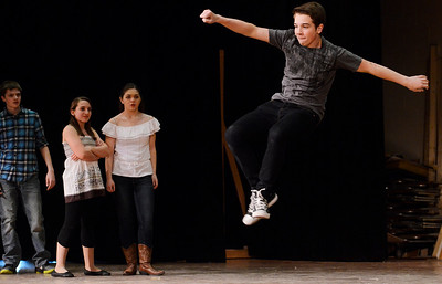Erica Miller @togianphotog - The Saratogian:   The Saratoga Spring High School held a dress rehearsal for their upcoming play Footloose. Lead actor playing  Ren was Noah Casner on stage during rehearsal.