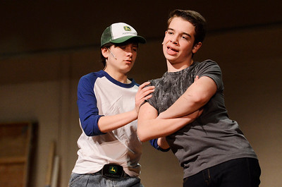 Erica Miller @togianphotog - The Saratogian:   The Saratoga Spring High School held a dress rehearsal for their upcoming play Footloose. Lead actor playing Ren played by Noah Casner (right) and Willard played by Matt Boyce on stage during rehearsal.