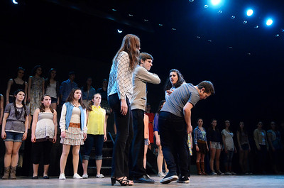 "Erica Miller @togianphotog - The Saratogian:   The Saratoga Spring High School held a dress rehearsal for their upcoming play Footloose. Lead actor playing  Ren was Noah Casner with his ""mother"" Ethel, played by Lila Glansberg, on stage during rehearsal."