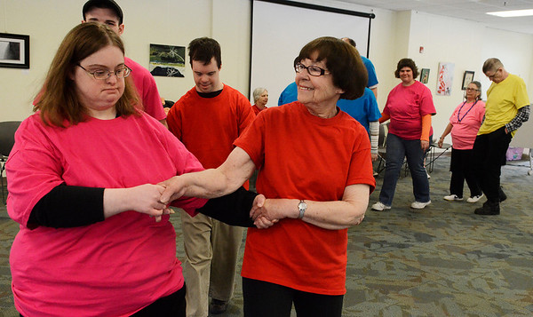 """Erica Miller @togianphotog - The Saratogian:  At Saratoga Bridges in Ballston Spa, on March 20th, 2014, under the direction of Judi Fiore, dance instructor on right, the group """"traveled the world"""" learning different dances from different countries."""