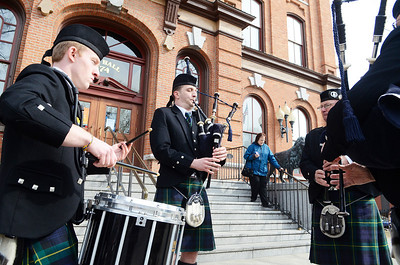 "Erica Miller @togianphotog - The Saratogian:  At the Saratoga Springs City Hall's Music Hall, robbing took place before the procession down Broadway for the inauguration of Merodie A. Hancock, Ph.D., as the fourth President of Empire State College. The 97th old Schenectady Pipe Band performed ""When the Battle O're"" and ""Green Hills of Tyroll"" was they led the procession."