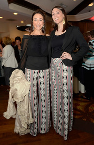 Ed Burke - The Saratogian 04/24/14 A coincidence, not a memo, was responsible for tandem designer pants worn by Lisa Munter, left, and Leah Ferrone to the Cocktails & Couture fundraiser Thursday for the Juvenile Diabetes Research Foundation. The event was held at the Prime at Saratoga National.