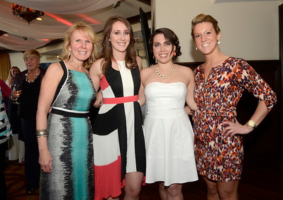 Ed Burke - The Saratogian 04/24/14 Attending the Cocktails & Couture fundraiser at Saratoga National and modeling local fashions were, from left;  co-chairs Fran Dingeman and daughter Ashley Dingemen along with Alyssa Bradley and Erin Baumeister. The event raises money for the Juvenile Diabetes Research Foundation.