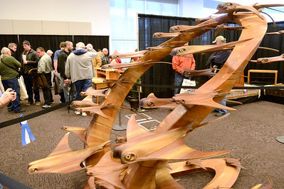 Ed Burke - The Saratogian 03/29/14 A wooden sculpture titled Wave of Rays by Brad Conklin of Maybrook is on display Saturday at the Northeast Woodworkers Association's Showcase at the Saratoga Springs City Center. The show continues Sunday.