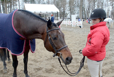Ed Burke - The Saratogian 04/30/14 Hannah Lavin of Westford, Massachusetts and her mount Chekandino wait to compete during opening day of the Saratoga Springs Horse Show.