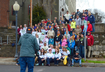 Ed Burke - The Saratogian 04/26/14 Photographer Lawrence White takes a group picture of Tree Toga volunteers and organizers Saturday morning along Maple Ave.