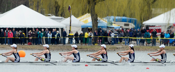 Erica Miller @togianphotog - The Saratogian:    On Saturday April 26th, 2014, on Saratoga Lake, Saratoga Rowing Association held the Saratoga Invitational as Saratoga made it through on the 38th race Women's Varisty 8+.